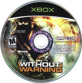 Artwork on the CD for Without Warning on the Microsoft Xbox.