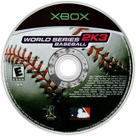 Artwork on the CD for World Series Baseball 2K3 on the Microsoft Xbox.
