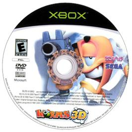 Artwork on the CD for Worms 3D on the Microsoft Xbox.