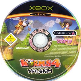 Artwork on the CD for Worms 4: Mayhem on the Microsoft Xbox.