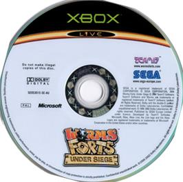 Artwork on the CD for Worms Forts: Under Siege on the Microsoft Xbox.