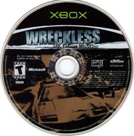 Artwork on the CD for Wreckless: The Yakuza Missions on the Microsoft Xbox.