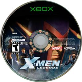 Artwork on the CD for X-Men: Legends on the Microsoft Xbox.