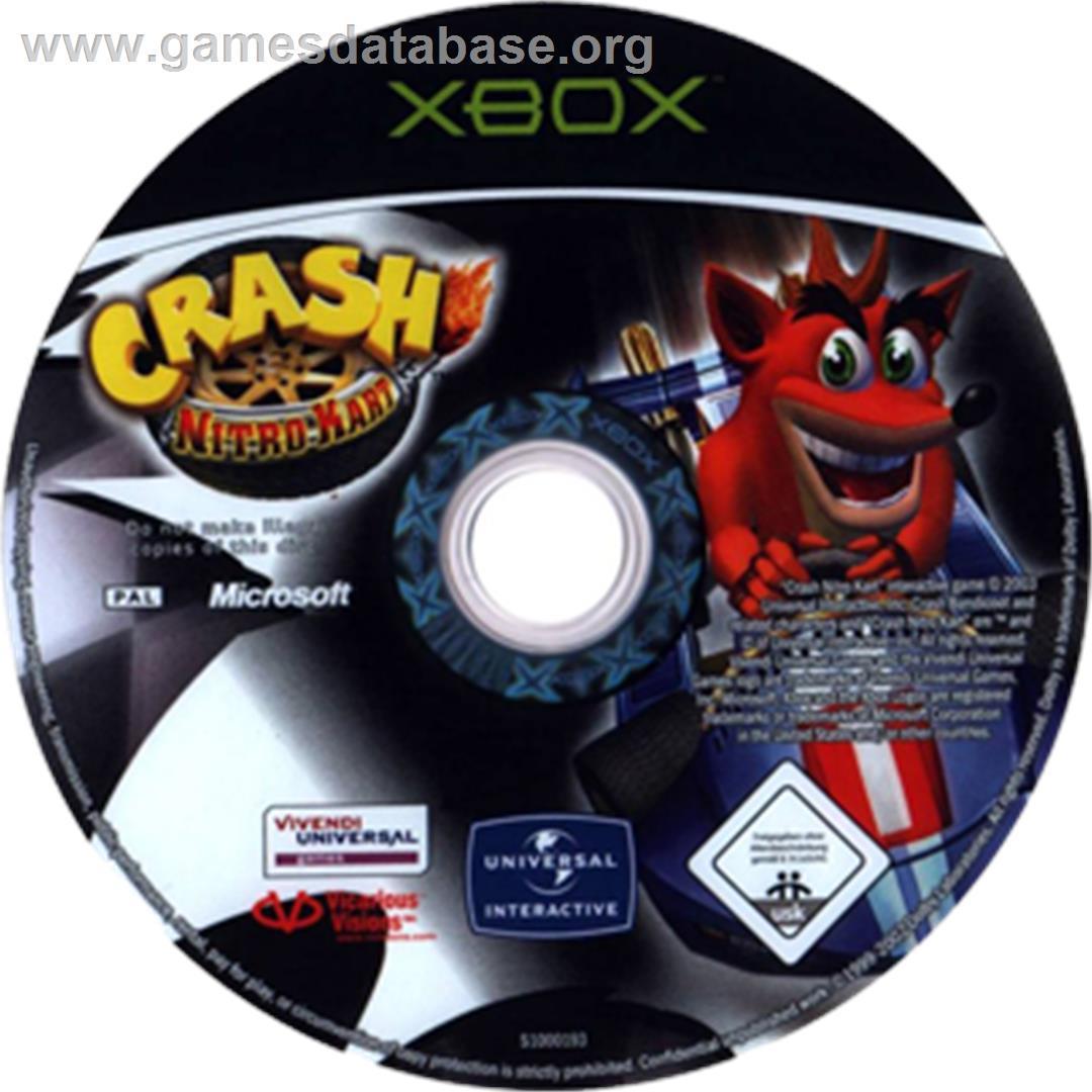 Artwork on the CD for Crash Nitro Kart on the Microsoft Xbox.