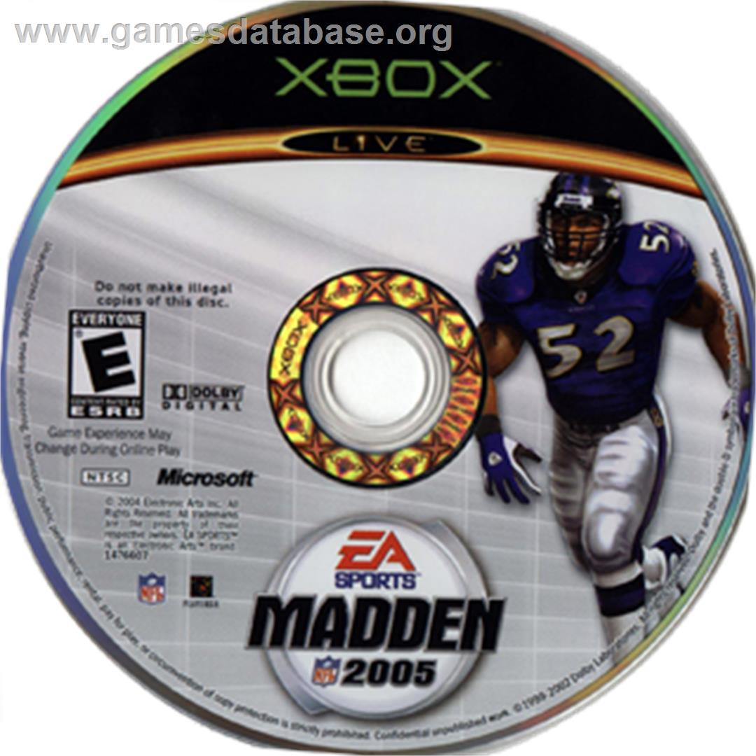 Artwork on the CD for Madden NFL 2005 on the Microsoft Xbox.