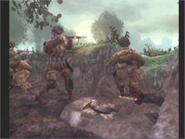 In game image of Brothers in Arms: Earned in Blood on the Microsoft Xbox.