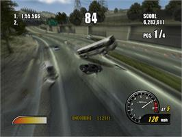 In game image of Burnout 2: Point of Impact on the Microsoft Xbox.