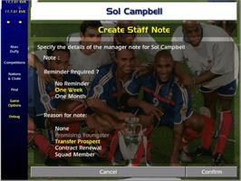 In game image of Championship Manager: Season 01/02 on the Microsoft Xbox.