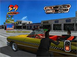 In game image of Crazy Taxi 3: High Roller on the Microsoft Xbox.