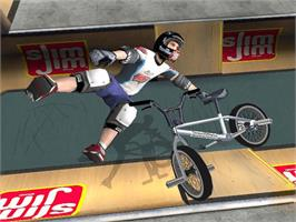 In game image of Dave Mirra Freestyle BMX 2 on the Microsoft Xbox.