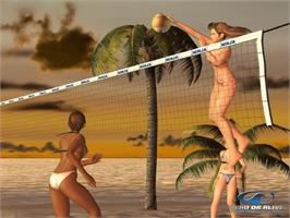 In game image of Dead or Alive: Xtreme Beach Volleyball on the Microsoft Xbox.