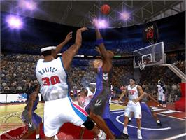 In game image of ESPN NBA 2K5 on the Microsoft Xbox.