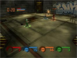 In game image of Fuzion Frenzy on the Microsoft Xbox.