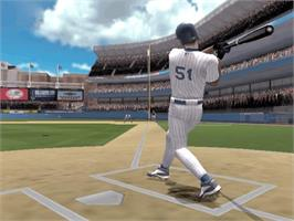 In game image of High Heat Major League Baseball 2004 on the Microsoft Xbox.