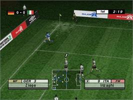 In game image of International Superstar Soccer 2 on the Microsoft Xbox.