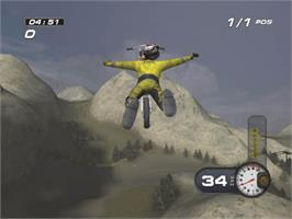 In game image of MX Superfly Featuring Ricky Carmichael on the Microsoft Xbox.