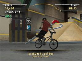 In game image of Mat Hoffman's Pro BMX 2 on the Microsoft Xbox.