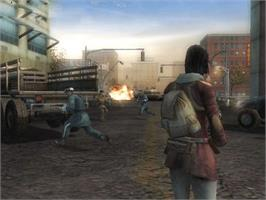 In game image of Mercenaries: Playground of Destruction on the Microsoft Xbox.