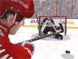 In game image of NHL 2003 on the Microsoft Xbox.