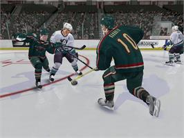 In game image of NHL 2005 on the Microsoft Xbox.