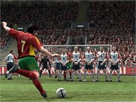 In game image of Pro Evolution Soccer 4 on the Microsoft Xbox.
