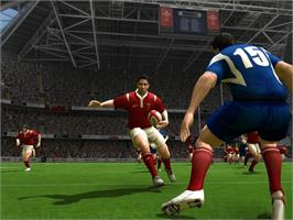 In game image of Rugby 2005 on the Microsoft Xbox.