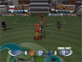 In game image of Sega Soccer Slam on the Microsoft Xbox.