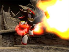 In game image of Shadow the Hedgehog on the Microsoft Xbox.
