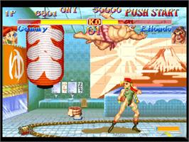 In game image of Street Fighter: Anniversary Collection on the Microsoft Xbox.