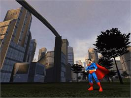 In game image of Superman: The Man of Steel on the Microsoft Xbox.