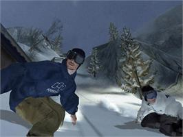 In game image of TransWorld Snowboarding on the Microsoft Xbox.