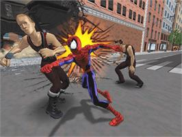 In game image of Ultimate Spider-Man on the Microsoft Xbox.