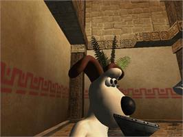 In game image of Wallace & Gromit in Project Zoo on the Microsoft Xbox.
