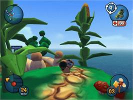In game image of Worms 3D on the Microsoft Xbox.