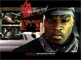 Title screen of 50 Cent: Bulletproof on the Microsoft Xbox.