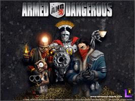 Title screen of Armed and Dangerous on the Microsoft Xbox.