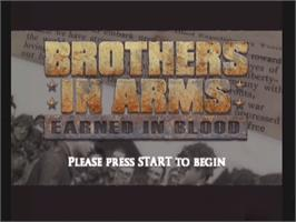 Title screen of Brothers in Arms: Earned in Blood on the Microsoft Xbox.