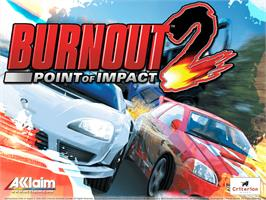 Title screen of Burnout 2: Point of Impact on the Microsoft Xbox.