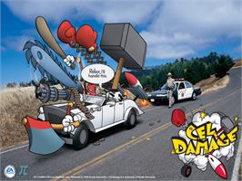 Title screen of Cel Damage on the Microsoft Xbox.