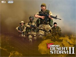 Title screen of Conflict: Desert Storm II: Back to Baghdad on the Microsoft Xbox.