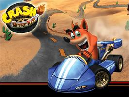 Title screen of Crash Nitro Kart on the Microsoft Xbox.