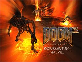 Title screen of DOOM³: Resurrection of Evil on the Microsoft Xbox.