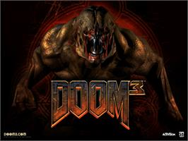 Title screen of DOOM³ (Limited Collector's Edition) on the Microsoft Xbox.