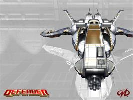 Title screen of Defender on the Microsoft Xbox.
