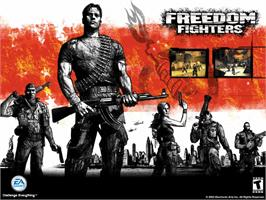 Title screen of Freedom Fighters on the Microsoft Xbox.