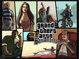 Title screen of Grand Theft Auto: San Andreas on the Microsoft Xbox.