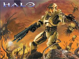 Title screen of Halo: Combat Evolved on the Microsoft Xbox.