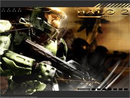 Title screen of Halo 2 on the Microsoft Xbox.