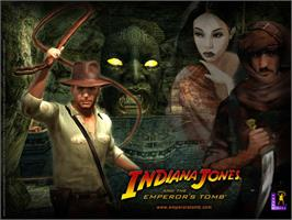 Title screen of Indiana Jones and the Emperor's Tomb on the Microsoft Xbox.