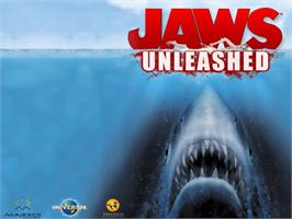 Title screen of Jaws: Unleashed on the Microsoft Xbox.